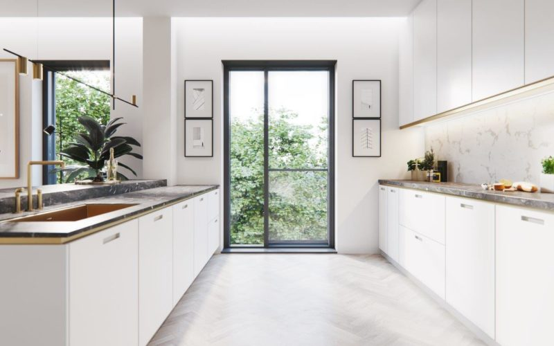 Wizualizacje Oak Lane pokazują piękno i wyjątkowość projektu. Wnętrza apartamentów będą doskonale doświetlone dzięki wąskoprofilowym oknom Schüco.