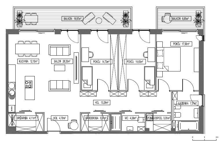 Oak Lane Mokotów – dopracowaliśmy z biurem projektowym podział pięter na apartamenty. Powstało 11 wspaniałych apartamentów od 86 do 220 m2.